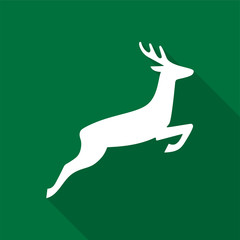 White deer icon with long shadow on green background. Vector Illustration EPS 10