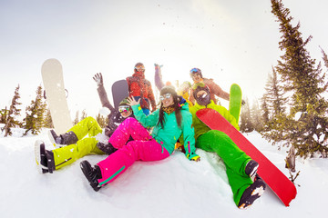 Hapy friends ski resort winter sports vacations