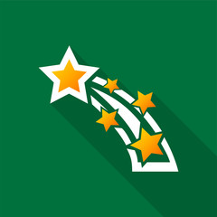 Shooting star icon with long shadow on green background. Vector Illustration EPS 10