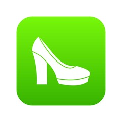 High heel shoes icon digital green for any design isolated on white vector illustration