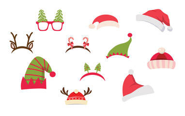 Christmas photo booth and scrapbooking vector set. Christmas Retro Party set . vector illustration