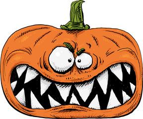 A growling, cartoon pumpkin face with sharp, dangerous teeth.