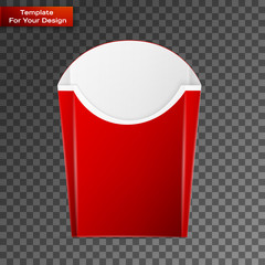 Blank french fries box on transparent background
