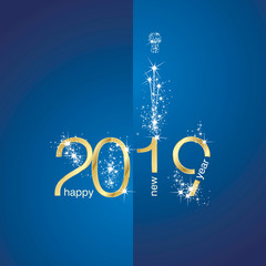 2018 Gold New Year firework blue background