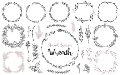 Set of hand drawn wreath and branches. Decorative elements for your design. Vector illustration