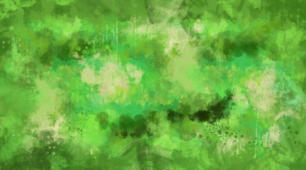 Abstract green watercolor background. Bright multi colored spots.