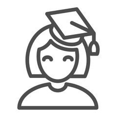 Graduate girl line icon. Student vector illustration isolated on white. Education outline style design, designed for web and app. Eps 10.