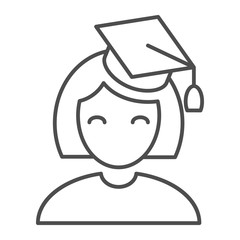 Graduate girl thin line icon. Student vector illustration isolated on white. Education outline style design, designed for web and app. Eps 10.