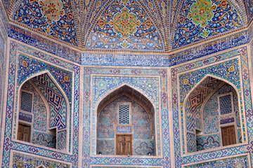 Details of mosaic tiles on balcony, The Registan, Samarkand, Uzbekistan