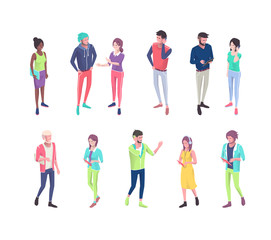 Set of isometric people with different gadgets.