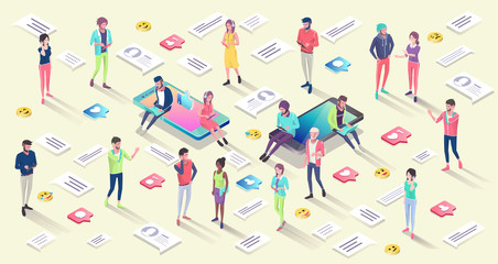Isometric concept with mobile phone, people and push notification.