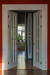 Homemade door portal from the living room to the hallway. Petersburg private apartment.