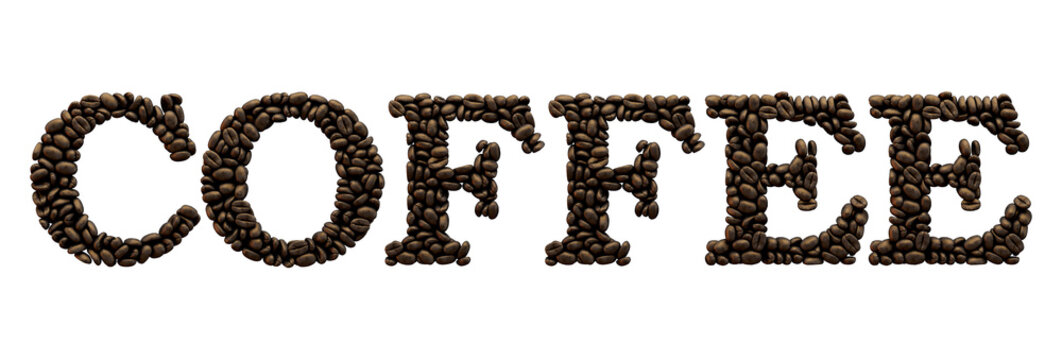 Coffee word made from coffee bean font. 3D Rendering