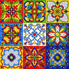 Mexican talavera ceramic tile seamless pattern.