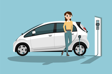 Woman charges an electric car at a charging station. Vector illustration