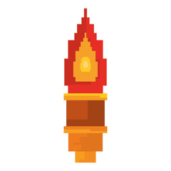 pixel video game torch flame