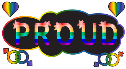 Proud - inscription in rainbow letters, lgtb concept
