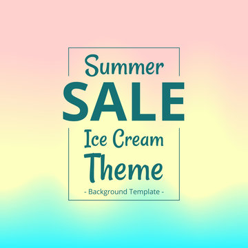 vector abstract feminine summer sale banner in ice cream theme background