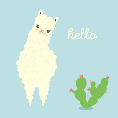 Vector Illustration of cute cartoon llama or alpaca with cactus. Childish print for fabric, t-shirt, poster, cards, invitations, cases, pattern, patch and sticker