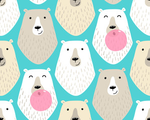 Cute childish seamless pattern with cartoon characters of different polar bears and bubble gum