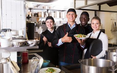 Confident team of chefs