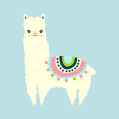 Vector Illustration of cute fluffy cartoon llama or alpaca. Childish print for fabric, t-shirt, poster, cards, invitations, cases, pattern, patch and sticker