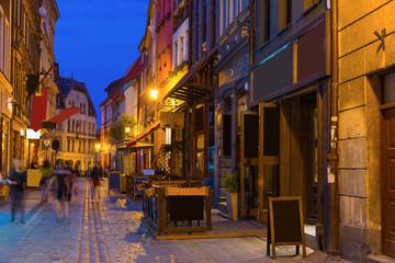 Streets of Torun in evening