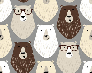Cute childish seamless pattern with cartoon characters of different bears and eye glasses