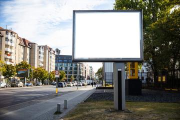 Obraz Blank billboard mockup for advertising, City street background - fototapety do salonu