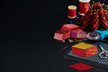 Preparing of diamond pieces of fabrics for sewing quilt, traditional patchwork, sewing and quilting accessories