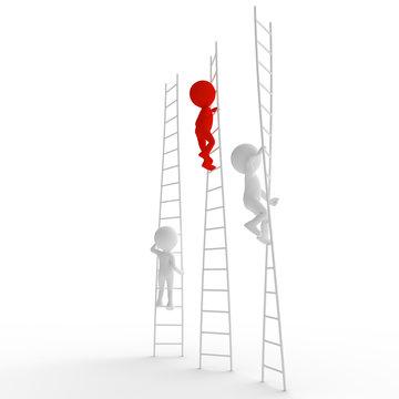 Stick Figure people climbing ladders