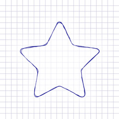 Star icon. Hand drawn picture on paper sheet. Blue ink, outline sketch style. Doodle on checkered background