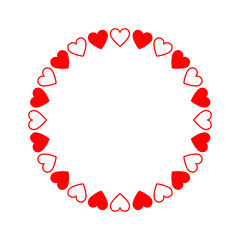 Round frame of hearts, isolated vector romantic round frames with hearts for decorating greeting cards, wedding invitations