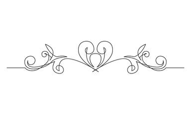 continuous line drawing of symmetrical vignette banner design