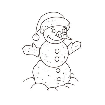 Snowman in the foot of his hat. Coloring book.