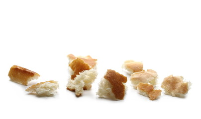 Bread crumbs isolated on white background