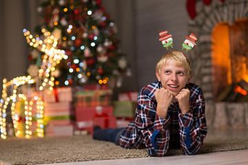 guy near christmas tree