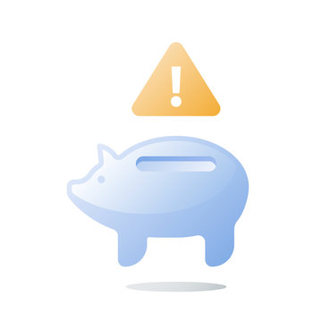 Budget plan, empty glass piggy bank, invest fund mismanagement, need money, unexpected spending, financial loss prevention