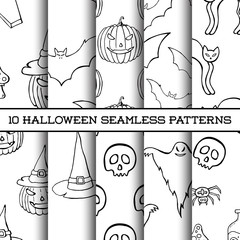 Set of ten Halloween monochrome silhouettes seamless patterns.