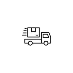 line shipping truck icon on white background