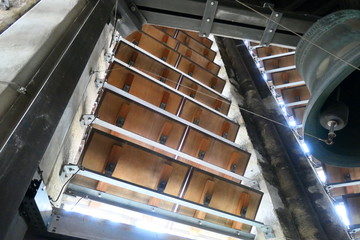 Inside the Antwerp kathedral just before renovation 2018 Bijaard orgel klokken toren zicht over Antwerpen Hilton Groenplaats Schelde