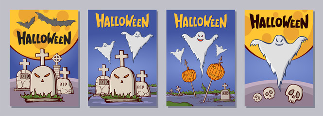 Halloween hand drawn invitation or greeting cards set with lattering.