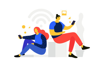 Cartoon man and woman looking in mobile gadgets. Communication in social networks. Concept of communication and receiving news on Internet. Vector flat illustration.