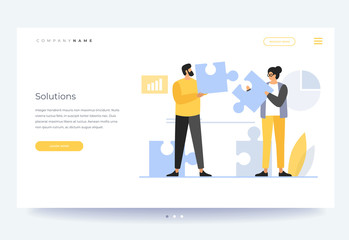 Landing page template. Concept of teamwork, building working system. The man and woman collects puzzles. Solution of business problems. Vector flat illustration.