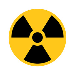 Radioactive material sign. Symbol of radiation alert, hazard or risk. Simple flat vector illustration in black and yellow