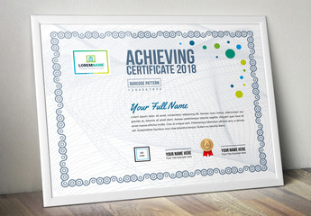 Certificate of Achievement Layout with Blue and Green Elements