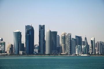 View to Doha Corniche and skyline in Doha, Qatar