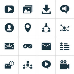 Media icons set with profile, communication, game and other community  elements. Isolated vector illustration media icons.