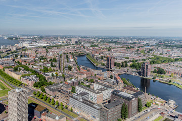 beautiful panoramic view of the city and canal of Rotterdam in the Netherlands Holland