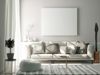 Mock up poster in Scandinavian living room concept, 3d render, 3d illustration
